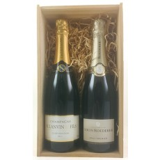 Champagne Double Wooden Gift Pack